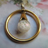 Vintage Floating Opals Pendant in 12K Gold Fill
