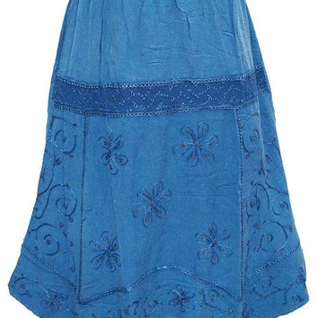 BOHEMIAN Women's Skirt Embroidered Rayon Blue Skirts