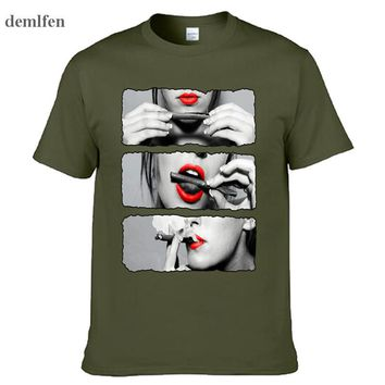 Blunt Roll Red Lips Sexy Girls Men T Shirt Harajuku Cotton Casual Funny T-Shirt Mens Brand Clothing Tshirt Homme Tops Tees