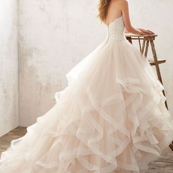 Mori Lee Marcia 8116 Strapless Lace Bodice Ball Gown Wedding Dress
