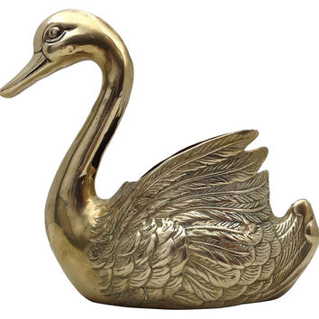 Large Brass Swan Planter