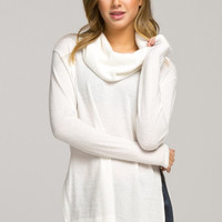 Calming Presence Cowl Neck Top - Ivory