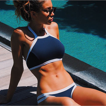 Triangle Sexy Crop Top Hang High Neck Bikinis Set Push Up Swimwear Women Swimsuit Beach Bathing Suit