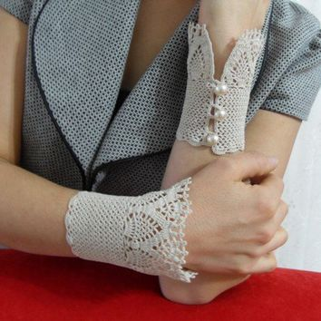 Victorian Style Ivory Crocheted Lace Gloves Gift For by Kitty016