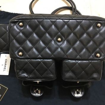 ONETOW authentic chanel cambon black mini multipocket bag