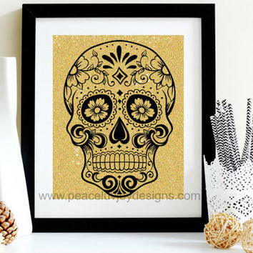 Sugar Skull Printable, Gold Glitter Skull, Day Of The Dead,  Dia De Los Muertos, Mexican Holiday Print, Sugar Skull Decor, Skull Table Top