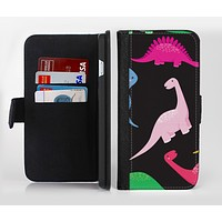 The Vector Neon Dinosaur Ink-Fuzed Leather Folding Wallet Credit-Card Case for the Apple iPhone 6/6s, 6/6s Plus, 5/5s and 5c