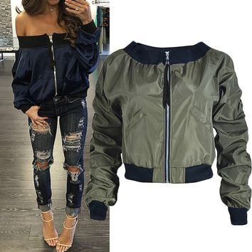 Long Sleeve Windbreaker Biker Coat Ladies Military Bomber Jacket