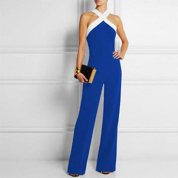 Celmia 2017 Women Summer Rompers Jumpsuits Sexy Halter Neck Patchwork Sleeveless Long Party Overalls Casual Playsuits Plus Size