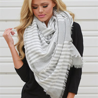 Fine and Mellow Blanket Scarf - Grey