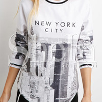 White Long Sleeve NEW YORK CITY Print Sweatshirt