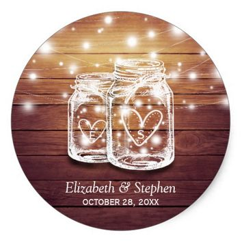Rustic Wood Mason Jar String Lights Wedding Favor Classic Round Sticker