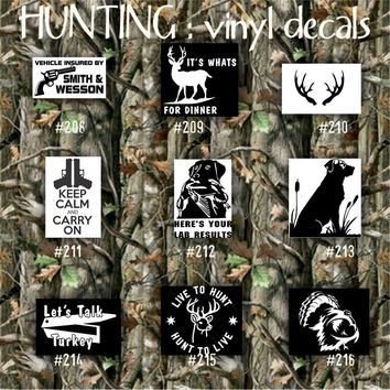 HUNTING vinyl decals - 208-216 - car stickers - custom hunting stickers