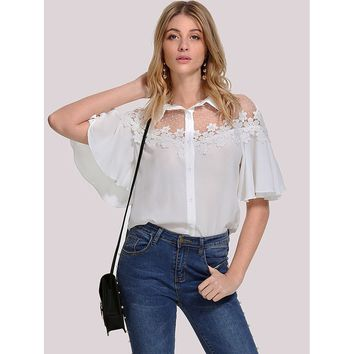 White Floral Print Lace Applique Flutter Sleeve Shirt