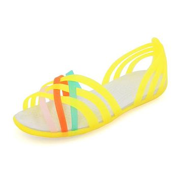 Summer Fish Mouth Plastic Flat Sandals Rainbow Casual Beach Shoes Mixed Color Women Sandals