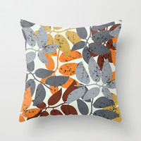 leaves pattern Throw Pillow by aticnomar
