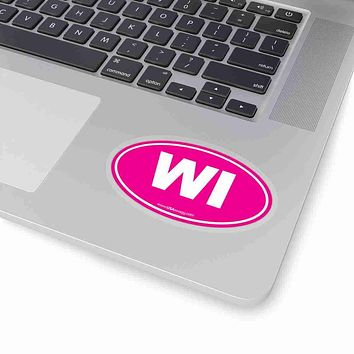 Wisconsin WI Euro Oval Sticker SOLID PINK