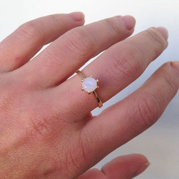 20% off-SALE!! Rainbow Stone Ring - Moonstone Ring - Simple Ring - Vintage Band - Gold Ring - Solitaire Ring - Bridal Ring