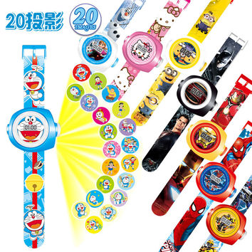 23cm Multi Style Cartoon Projection 3D 20 Projection Car Kitty Doraemon Toy Electronic Watch 24 Images Avengers Spider Man Watch