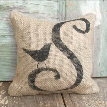 Bird Letter Custom Monogram   Burlap Feed Sack by nextdoortoheaven