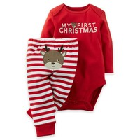 """carter's® 2-Piece """"My First Christmas"""" Bodysuit and Pant Set"""