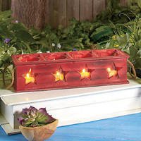Stars Wooden Tea Light Candle Holder Box Mantle Porch Country Home Kitchen Bath