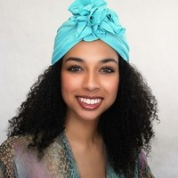 Chemo Hat |Flower Turban|Aqua Teal