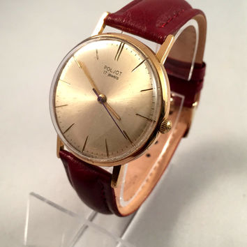 "Vintage Classic Men's  wristwatch ""FLIGHT""-(Poljot) 17 jewels. Sleek gold dial with gold numerals.New Leather band!"