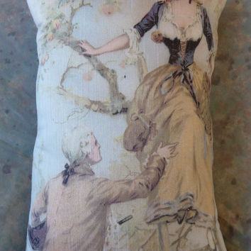 French Ad Pillow w Romantic couple in Orchard