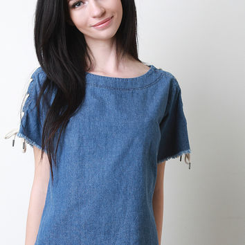 Denim Lace Up Short Sleeve Top