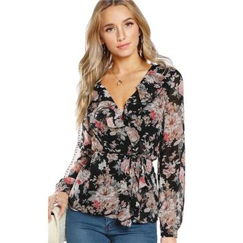 Mandy Chiffon Top Floral Belted Blouse