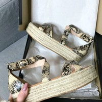 Right Time Snakeskin Strappy Platform Espadrilles