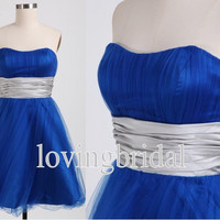 Short Royal Blue Evening Dress  Wedding Dress Formal Bridesmaid Dress Fashion Prom Dress New Party Dress Cocktail Dress New Arrival Dress
