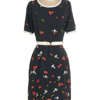 ModCloth Bird Long Short Sleeves Sheath Under Lock and Tweet Dress
