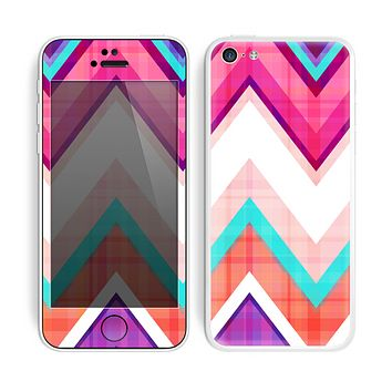 The Vibrant Teal & Colored Chevron Pattern V1 Skin for the Apple iPhone 5c