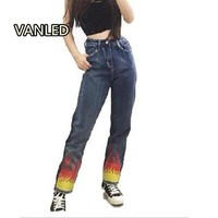 Women Punk Style Flame Print Jeans Women Fire Harajuku Denim Pants