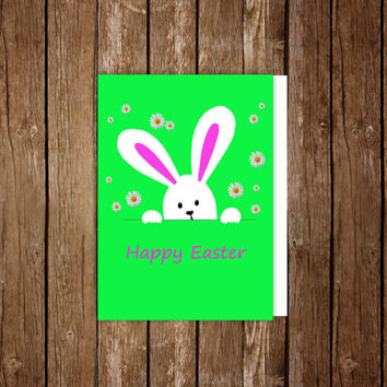 Easter card, Funny bunny print, Easter wishes, Bunny printable art, Greeting cards, Bunny print, Bunny card, Easter gift, Instant download