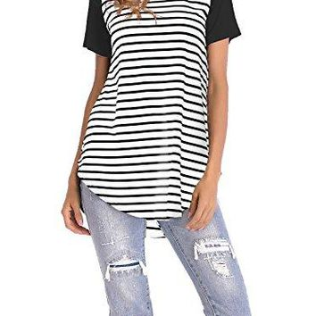 Adreamly Women's Striped Raglan Long Sleeve Baseball T Shirt Tunic Tops