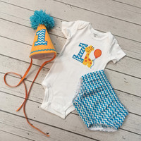 Baby Boys Giraffe 1st Birthday Outfit-Boys Diaper Cover-Boys Cake Smash Outfit-Boys Birthday Hat-Baby Boy Clothes