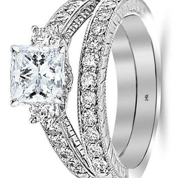 .1.7 Carat GIA Certified Princess Cut Three Stone Vintage With Milgrain & Filigree Bridal Set with Wedding Band & Diamond Engagement Ring (E Color, VS1 Clarity)