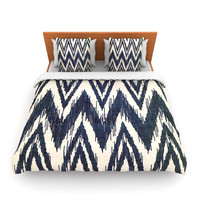 "Heidi Jennings ""Tribal Chevron Black"" Lightweight Duvet Cover"