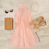 Monet Lace Dress - Blush
