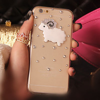 Glitter Rhinestone Sheep bling bling phone case for iphone 5 5s 6 6plus luxury diamond Sparkle cover