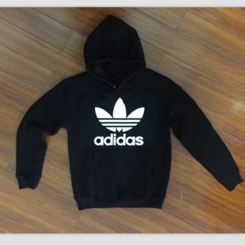 """Adidas"" Women Fashion Hooded Top Sweater Pullover Sweatshirt Black"