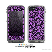 The Black & Purple Delicate Pattern Skin for the Apple iPhone 5c LifeProof Case