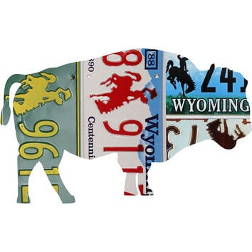 Wyoming License Plate Bison