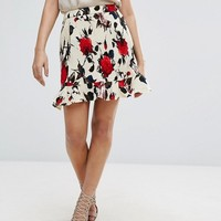 Missguided Printed Floral Plisse Mini Skirt With Frill Hem at asos.com