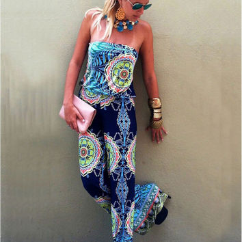 2016 Folk Style Print Long Jumpsuits For Women Sexy Chinese Traditional Clothing Casual Woman Bohemian Summer Jumpsuit Overalls