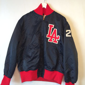 90's Men's LOS ANGELES Baseball Bomber Jacket Size XL Blue and Red