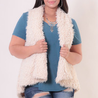 Plus Size Aaliyah Faux Fur Vest - Taupe